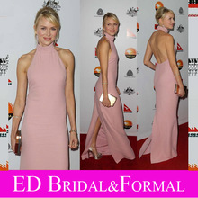 Naomi Watts Kleid Rosa High Neck Backless Slit Berühmtheit Abend Prom Formal Pageant Kleid GDay USA Schwarze Krawatte Gala