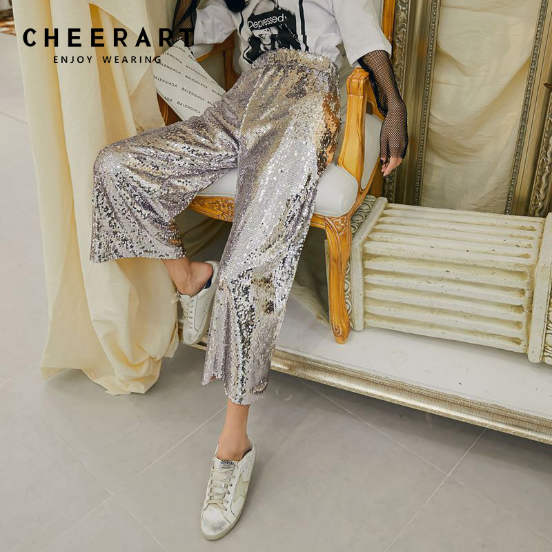 Cheerart Sequin   Pants   Ankle   Wide     Leg     Pants   Women Spring Summer Loose High Waist Trousers Glitter   Pants   Woman Fashion 2019