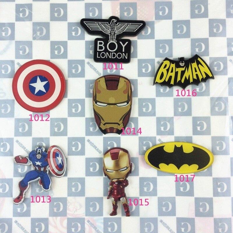 Acrylic Batman Badge Totoro Pin Up Collar Tips Captain America Shield Ironman Costumes Badge Gifts XZ34