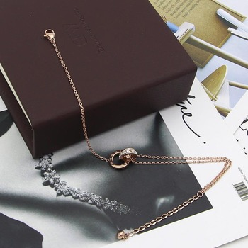 Fashion Rose Gold Color Beautiful Anklet Double Circle Chain Roman Numeral And Crystal Anklet Woman Gift Stainless Steel Jewelry 2