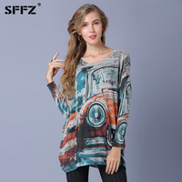 SFFZ Spring Winter Sweater Women Tops Classic Cars Art Print Knitted Sweater 2019 Casual Plus Fashion Pullover For Women Jumper