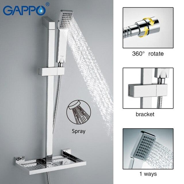 GAPPO barra deslizante para ducha de baño, grifo mezclador, Barra de ducha deslizante, plato de soporte para jabón, ducha de baño ABS cromado GA8010