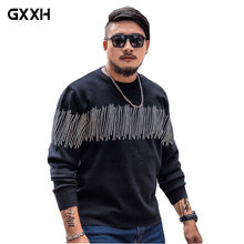 GxxH tide brand Large size Men's Sweater Men's Black Thick Sweater Loose Men's Striped Sweater Size XXL XXXL 4XL 5XL 6XL 7XL