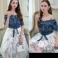 2018 The new summer dress fashion office tutu beautiful princess wind dresses for women simple and generous embroidery dress