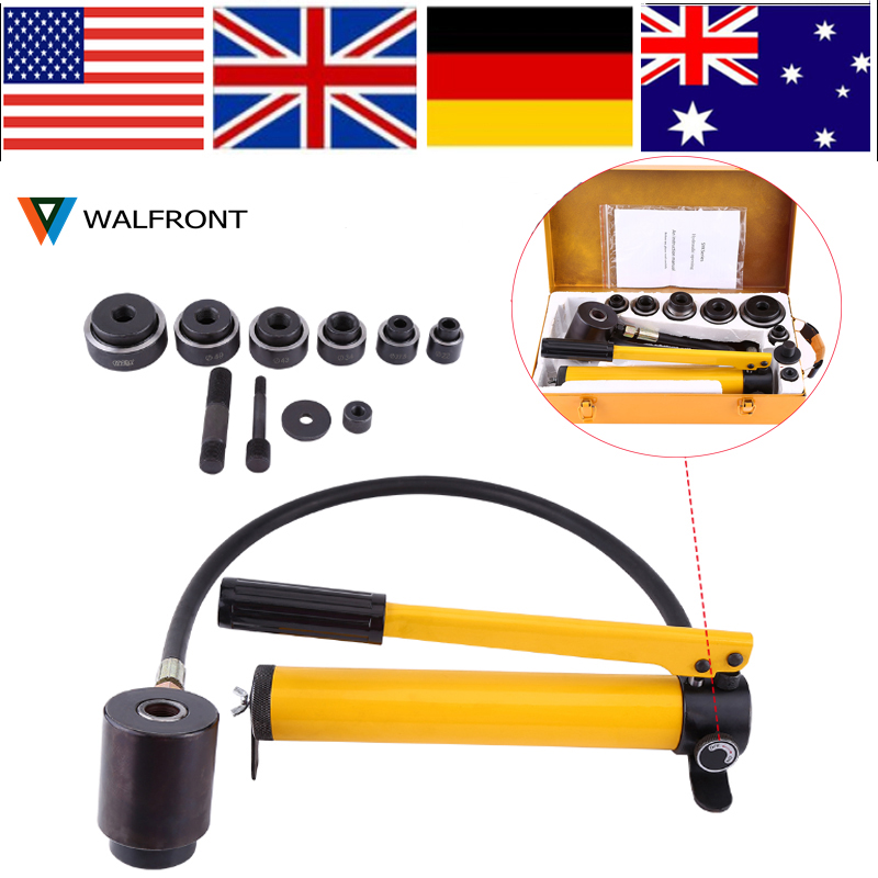 Manual Hydraulic Round Hole Punch Puncher Kit Steel Metalworking Hand Tool with 6 Dies Hydraulic Punch Driver 22-60mm hydraulic knockout tool hydraulic hole macking tool hydraulic punch tool syk 15 with the die range from 63mm to 114mm