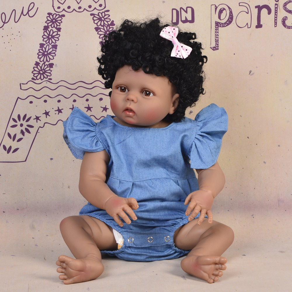 Baby Doll Toy Girl 22 Inches Reborn Vinyl Babies Doll Black For Girls Reborn Dolls Children Toys  bebes reborn de silicone realBaby Doll Toy Girl 22 Inches Reborn Vinyl Babies Doll Black For Girls Reborn Dolls Children Toys  bebes reborn de silicone real