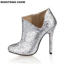 Модные блестящие Ботильоны Дамская обувь повседневные женские туфли-лодочки тонкий каблук пикантные Свадебные туфли на высоком каблуке Большие размеры 35–43