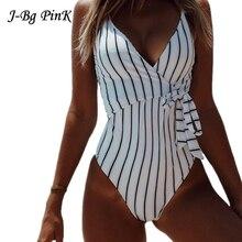 2018 Women Swim Wear Stripe One-piece Swimsuit Monokini Onepiece Suit Ladies Summer Sexy Beach Bathing Suit Swimwear