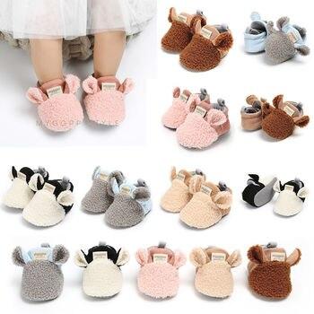Farfoot 2018 AU Menina Criança Botas de neve Sapatos de Bebê Recém-nascido Outono Inverno algodão Quente Prewalker Sola Macia Pelúcia