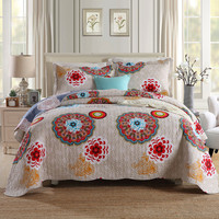 100% cotton comfortable and warm fashion health 1* bedspread 2 *pillowcases simple Countryside Quilt Set Queen Quilted