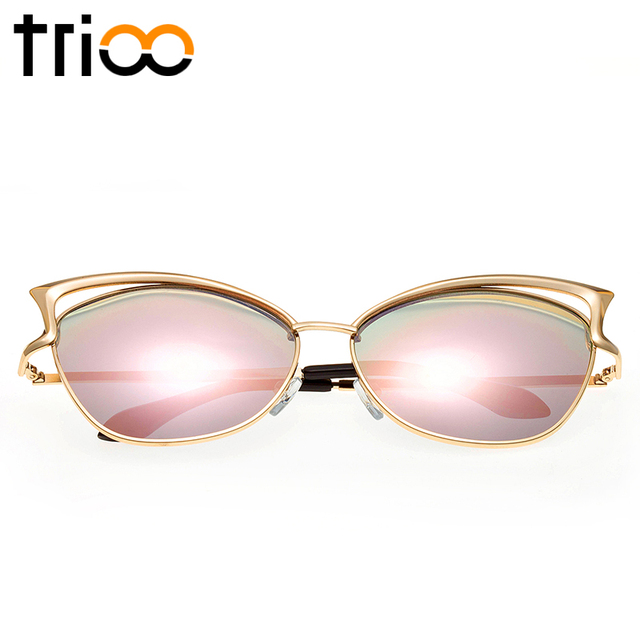 High Quality Cat Eye Female Sunglasses Gold Metal Reflective Summer Pink Vintage Sexy Shades