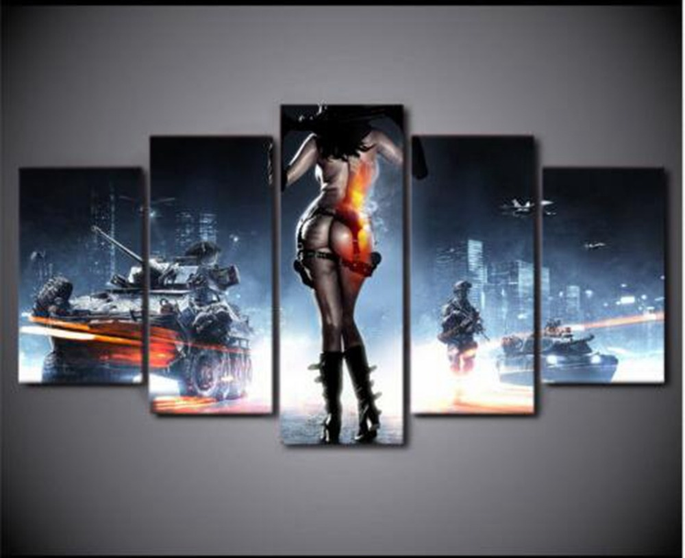 5 Panel Poster Game Battlefield 3 Theme Canvas HD Prints Painting Wall Art Decor