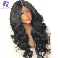 Луффи объемная волна предварительно сорвал волос 180% Плотность 13x6 глубокий часть натуральные волосы Синтетические волосы на кружеве парик