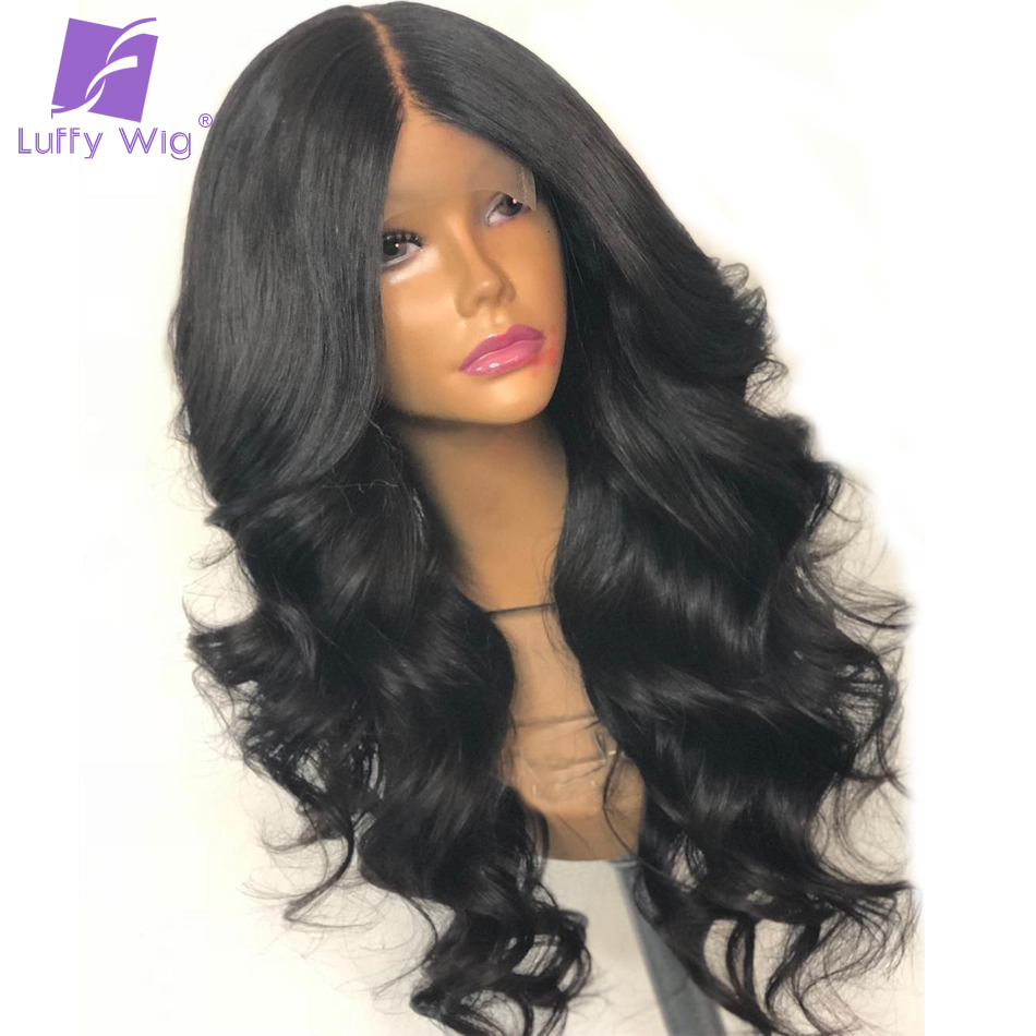 Luffy Body Wave Pre Plucked Hairline 180% Density Peruvian Non Remy 13×6 Deep Part Human Hair Lace Front Wig For Black Women