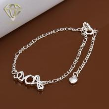 "Fine Fashion Foot Jewelry Inlaid Crystal ""Love"" Heart Pendants Charms Silver Plated for Women's Vintage Anklets"