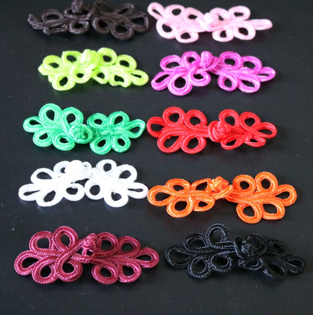20 Sets Beaded Chinese Knot Frog Buttons for Sewing on Clothes Light tan