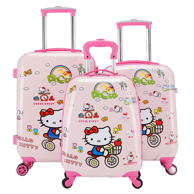 8b46629802 Kawaii Anime Hello Kitty Rolling Luggage For Girls Kids Carry On Suitcase Children  ABS+PC Cartoon Traveller Pull Rod Trunk