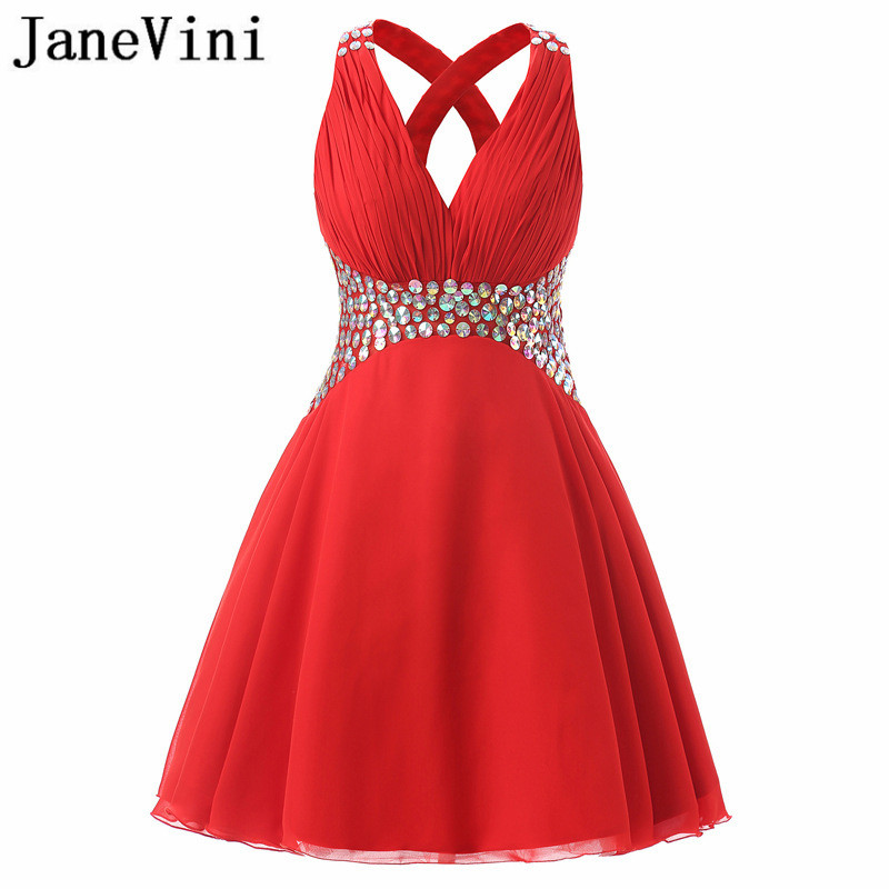 94bc7c3bb8 JaneVini 2018 Short Red Bridesmaid Dress with Shiny Sequins Chiffon Girls  V-Neck Wedding Party ...
