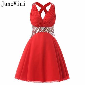JaneVini 2018 Short Red Bridesmaid Dress with Shiny Sequins Chiffon Girls V-Neck Wedding Party Dresses Vestidos Dama De Honra
