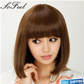Sofeel elagatant fashion newest charming women's brown middle straight bobo wig high rose quality net with HighTemperature Fiber