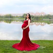 2006e7bc77de9 Don & Judy Mutterschaft Kleid für Fotografie Schwangerschaft Off Schulter  Baumwolle Lange Schwangerschaft Kleid Baby Dusche