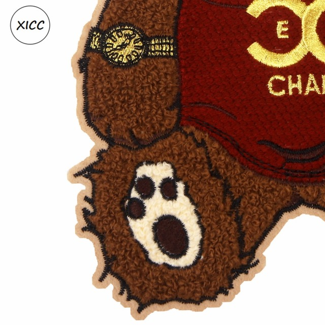 XICC Big Size Towel Embroidery Cartoon Bear Patch Custom Chenille Sew on Patch Super Cool Sunglasses Patchwork Sticker Appliques