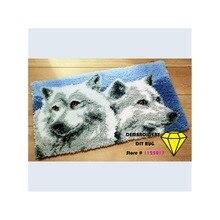 Wolf Heißer verkauf stickerei 3D diy teppich stickerei häkelnadeln stoff zum nähen bilder häkeln teppich wolf teppich 52*38 cm