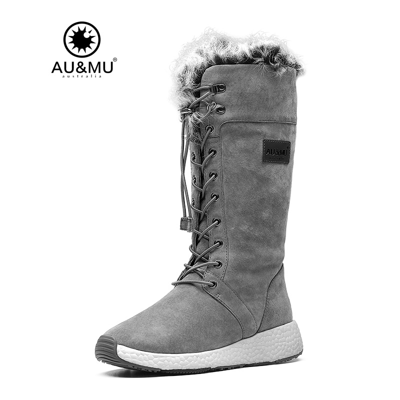 2017 AUMU Australia Women Fashion Fur Mid Calf Sheepskin Lace Up Suede Fretwork Winter Snow Boots UG NY732 2017 aumu australia women classic short sheepskin elastic suede winter snow boots ug ny082