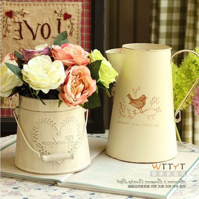 European Style Retro Jardiniere Bird and Heart Type Iron Tub For ...