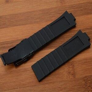 Image 5 - Marca 24mm x 11mm preto de alta qualidade silicone borracha pulseira relógio à prova dwaterproof água dobrável fivela aquis pulseira para oris
