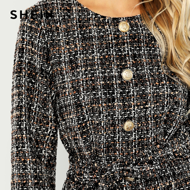 Image 5 - SHEIN Black Elegant Highstreet Single Breasted Hem Button Belted Tweed Blazer Coat 2018 Autumn Office Lady Women Outerwear-in Blazers from Women's Clothing