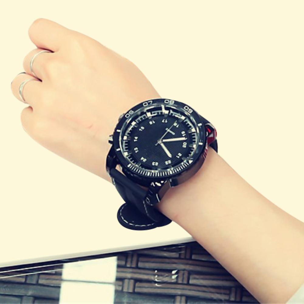 Sport Large Dial Men Women Faux Leather Band Quartz Wrist Watch Couple Gift