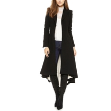2017 Black Long Lapel Blazer With Dovetail Slim Women Trench Coat Long Sleeve Overcoat Irregular Gothic Party Outerwear Coats