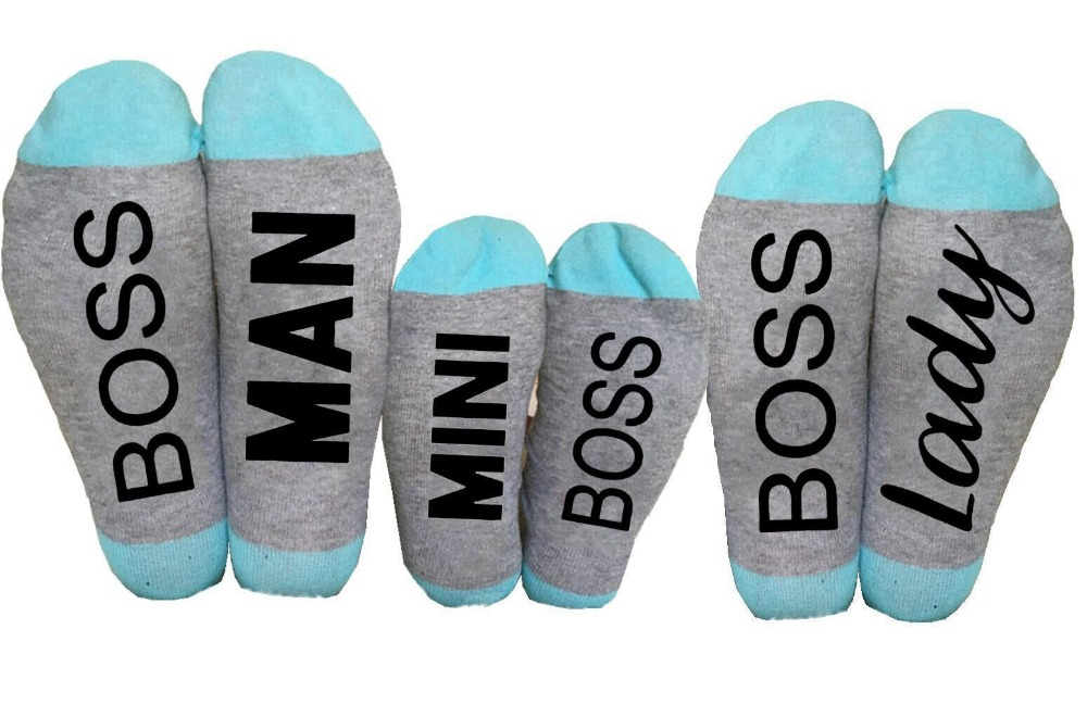 Men Women Funny Socks Casual Boss Man Lady Letter Print Family Socks Cotton Unisex Socks