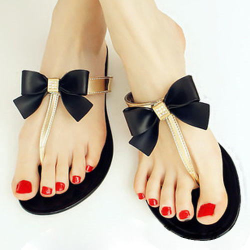 Women Slippers V Jelly Shoes Women Flip Flops Bow Stud Women Sandals