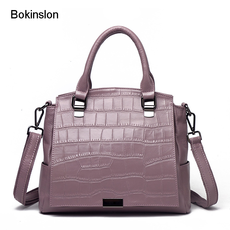 Bokinslon Shoulder Bags For Woman Split Leather Fashion Women Handbags Bags Crocodile Pattern Solid Color Ladies Crossbody Bag new stylish patent leather women messenger bags women handbags crocodile shoulder bags for woman clutch crossbody bag 6n07 06