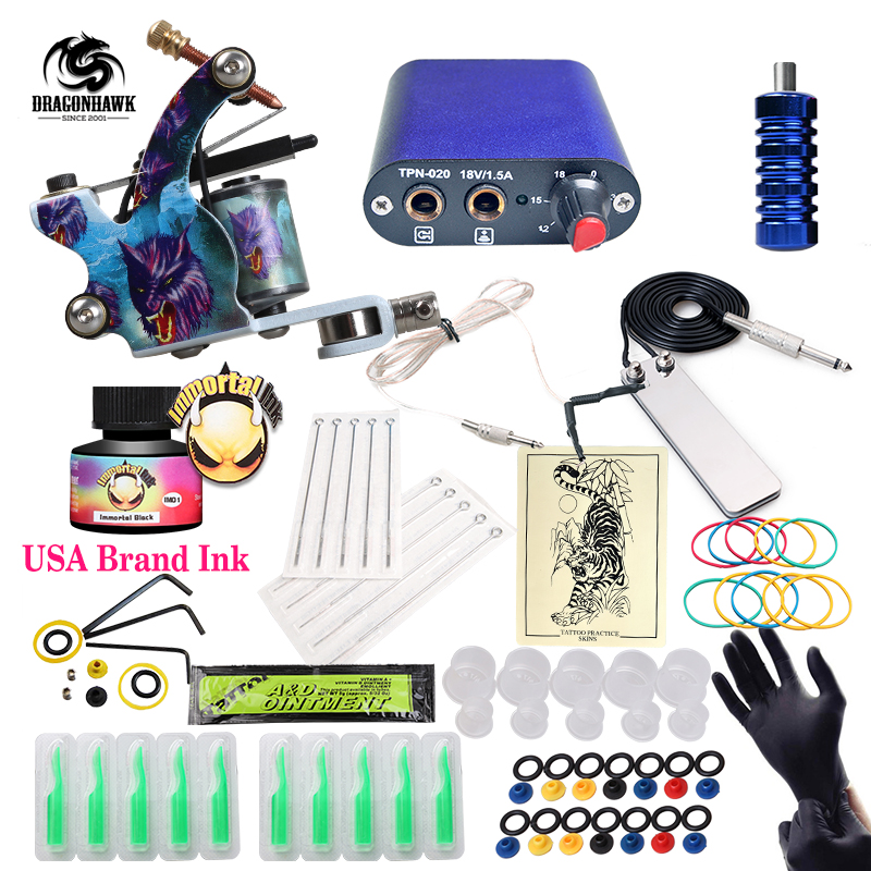 Free Ship Cheap Beginner Tattoo Kit With Hot Sales USA Brand Ink With 1 Tattoo Machine Complete Tattoo Power Supply free ship complete professional tattoo kit with immortal high quality usa brand ink as gift tattoo power supply