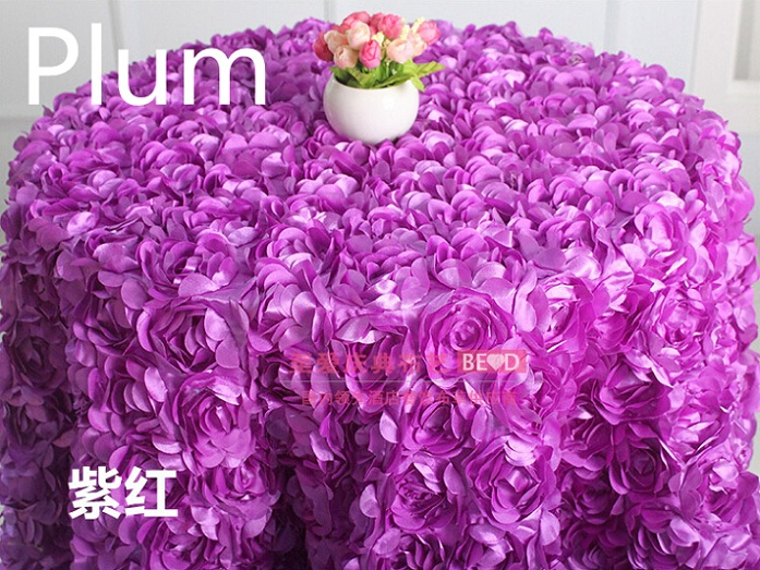 Plum colour wedding table cloth embroider rosette flower 3D table cover hotel banquet party round tables decoration on sale