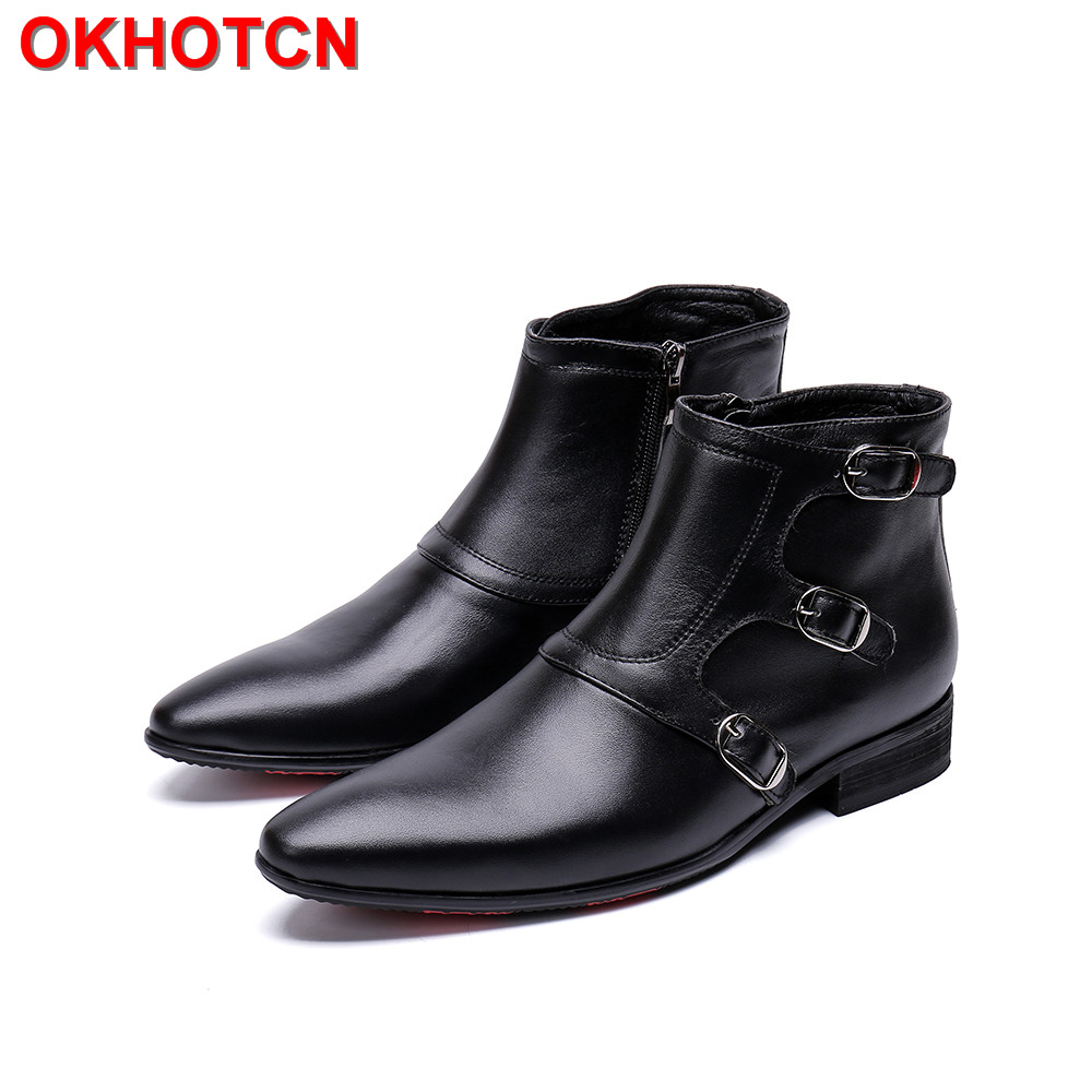 Genuine Leather Mens Boots Black Pointed Toe Buckle Man Boots Shoes Fashion Zipper Suede Ankle Men Winter Boots Waterproof Shoes okhotcn vintage men chelsea boots genuine leather suede rome style man ankle boots zipper male casual buckle shoes sapato botas