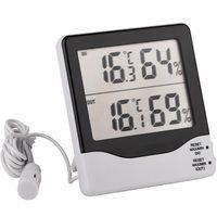 Dos canales IN & OUT LCD medidor electrónico de humedad de temperatura estación meteorológica termómetro higrómetro termo-higrómetro