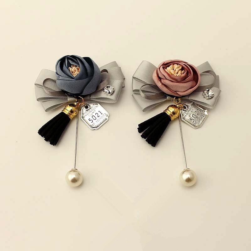 New Fabric Flowers Brooches Long Pin Simulated-pearl Woman Brooches Cute Tassel Suits Clothes Accessories Fashion Jewelry