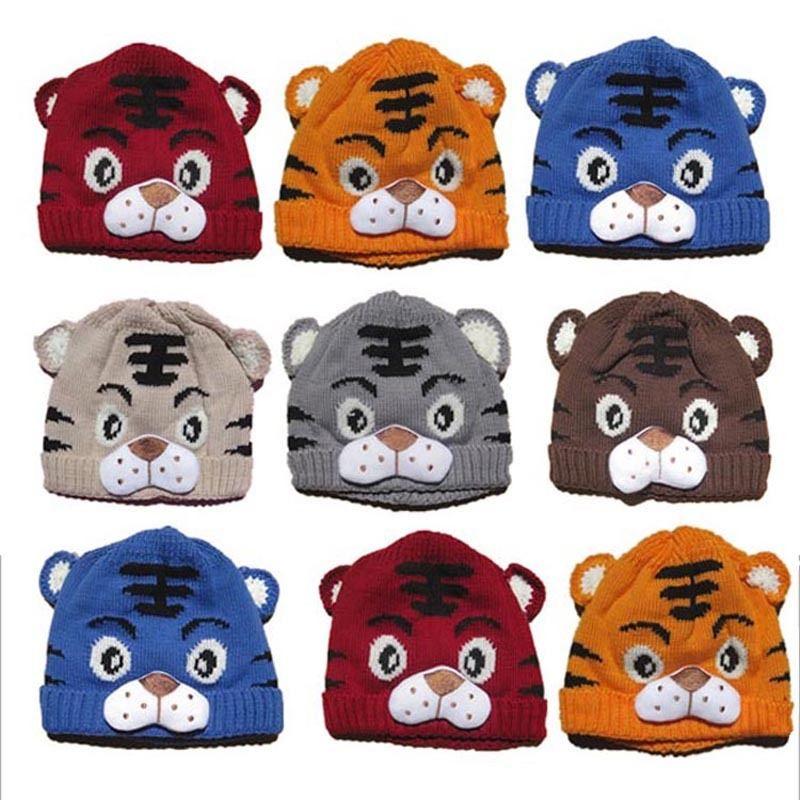 6 Farben Babys Winter Beanie Baby Mädchen Jungen Kinder Kleinkinder Tiger Schwanz Häkelarbeitknit Beanie 1-4 T