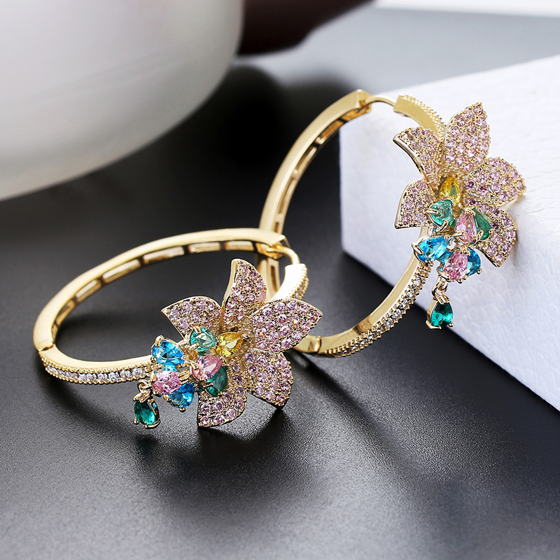 Luxury Flower Earrings For Women Zircon Round Hoop Earrings Gold Plating XIUMEIYIZU New Fashion Jewelry Export Brazil