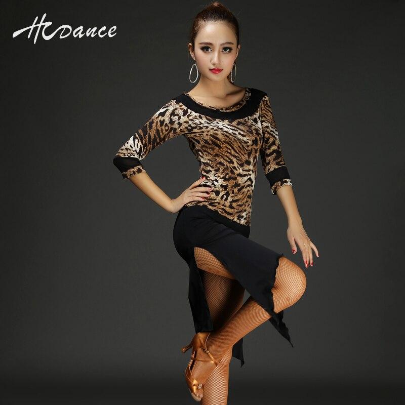 Hcdance Latin dance summer half sleeve women suit Salsa Tango Rumba flamengo Ballroom Dance Dress Zebra black hot A101-A227