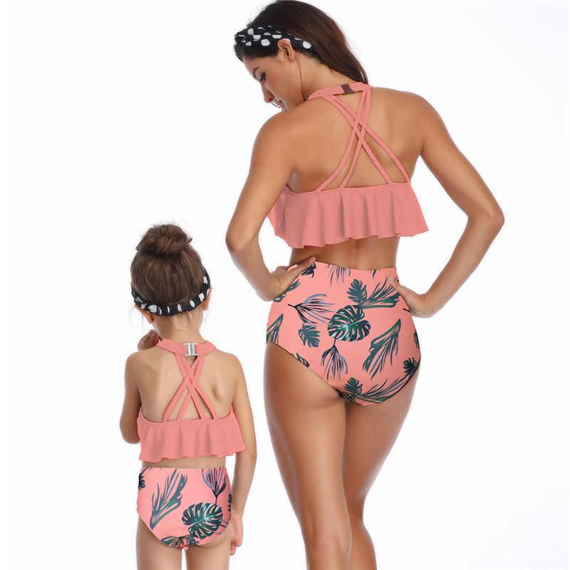 Drop Kapal Retail Anak Gaya Bayi Gadis Anak-anak Ibu Wanita Wanita Dipisahkan Swimsuit Baju Mandi Pakaian Renang Baju Renang Gaya Retro Dot Cetak