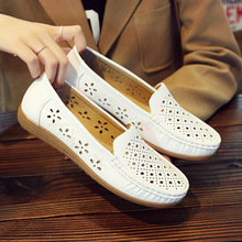 Fashion white nurse sandals flat bottom beef tendon bottom mother shoes hollow breathable non-slip pregnant women shoes women summer hollow mother sandals flat bottom hole large size shoes women with soft bottom peas shoes non slip in the elderly