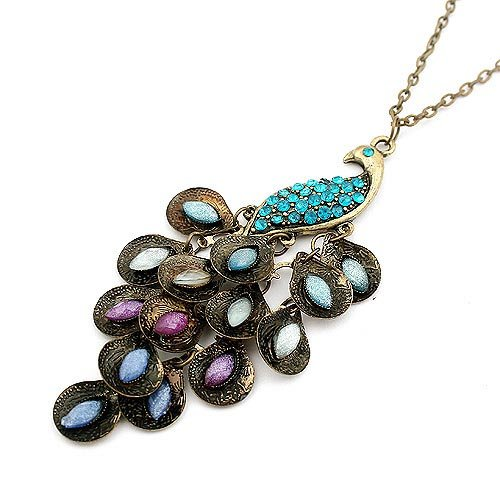 N048 European Fashion Blue Gem Peacock Feather Design Retro Colorful Necklaces & Pendants Sweater Chain Length 70cm=28inch