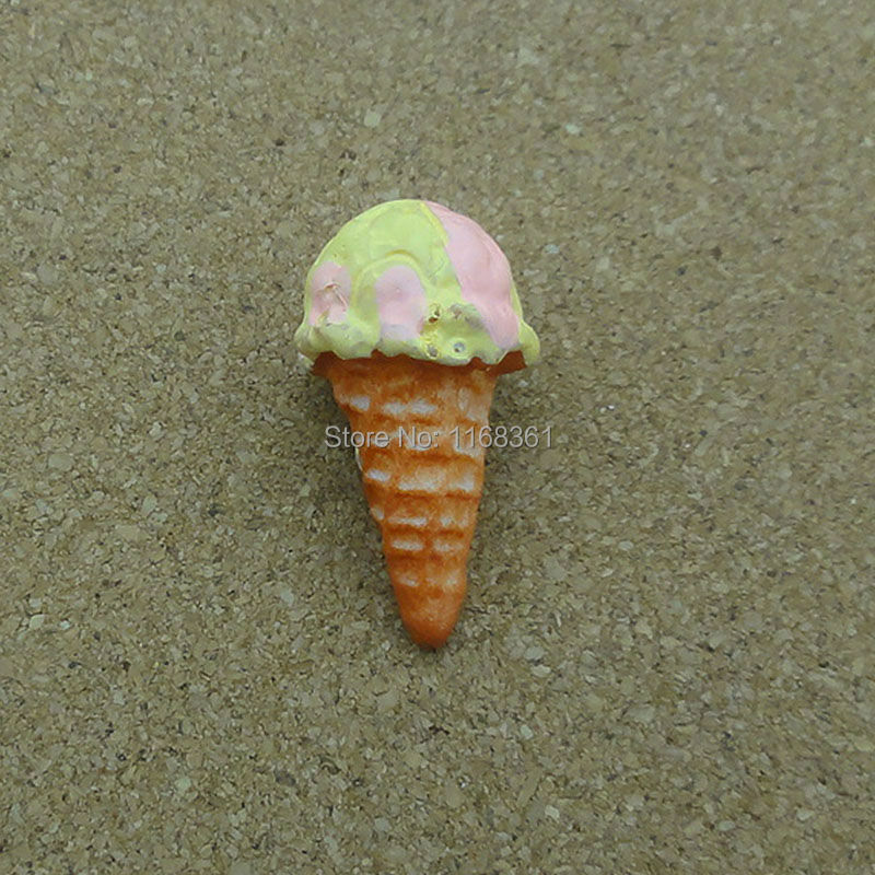 5pcs/lot resin solid Vanilla ice cream cones 23mm Cabochons Hair Bow Center Card Frame Making Craft DIY B402-7 image