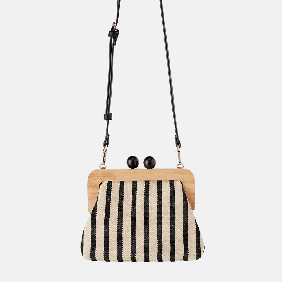 Vintage Striped Wooden Clip Bags For Women Canvas Bead Shoulder Bag Crossbody Bags Clutch Purse Lady Designer Brands Bolsa Mujer