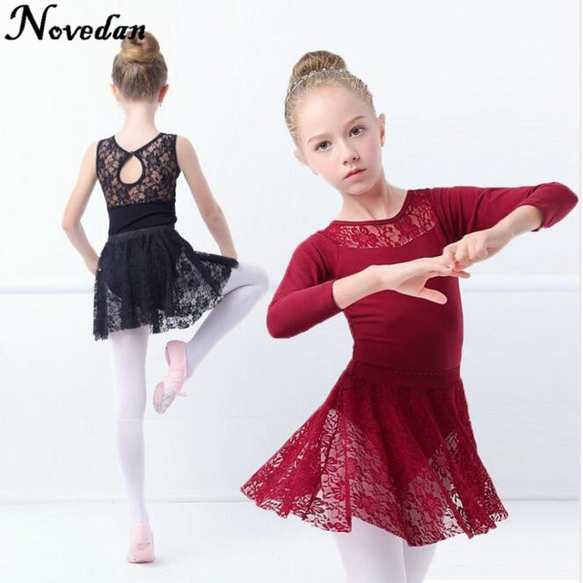 91c066cc5 Sexy Black Sleeveless  Long Sleeve Lace Ballet Dance Suit Girls Kids ...